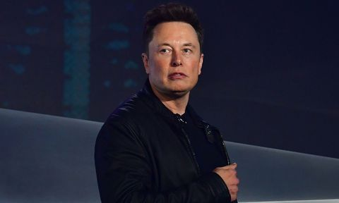 Elon Musk on stage at Tesla cybertruck unveiling