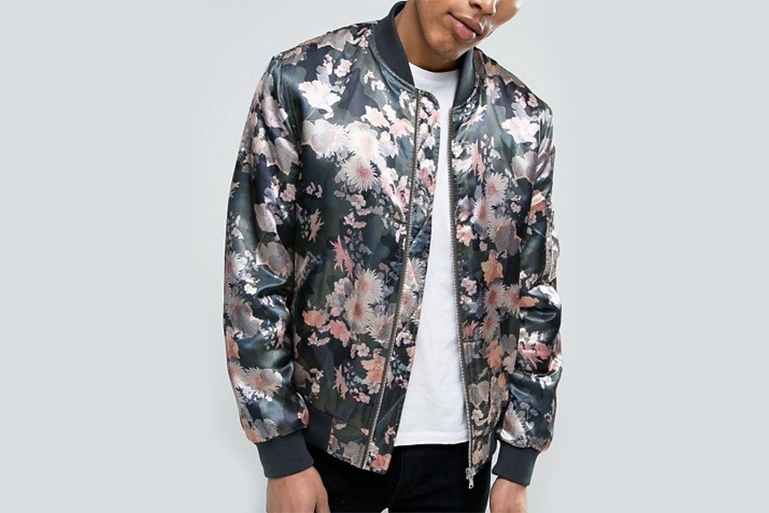 Bomber Jacket With Floral Camo Print
