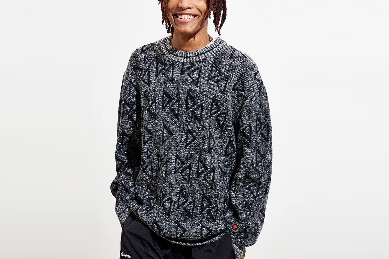 Geo Pattern Crew Neck Sweater