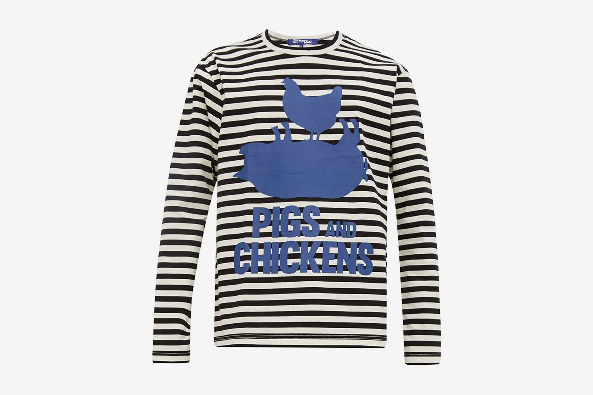 Pigs And Chickens Striped Cotton T-Shirt