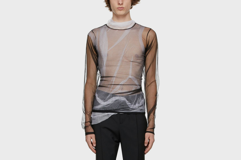 Mesh Layered Long Sleeve T-Shirt