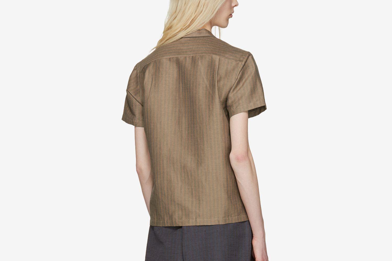 Striped Open Collar Shirt