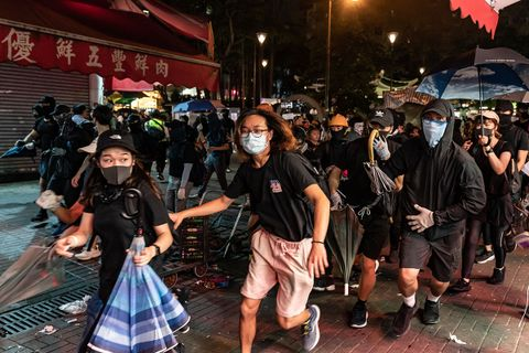 protestors in Hong Kong