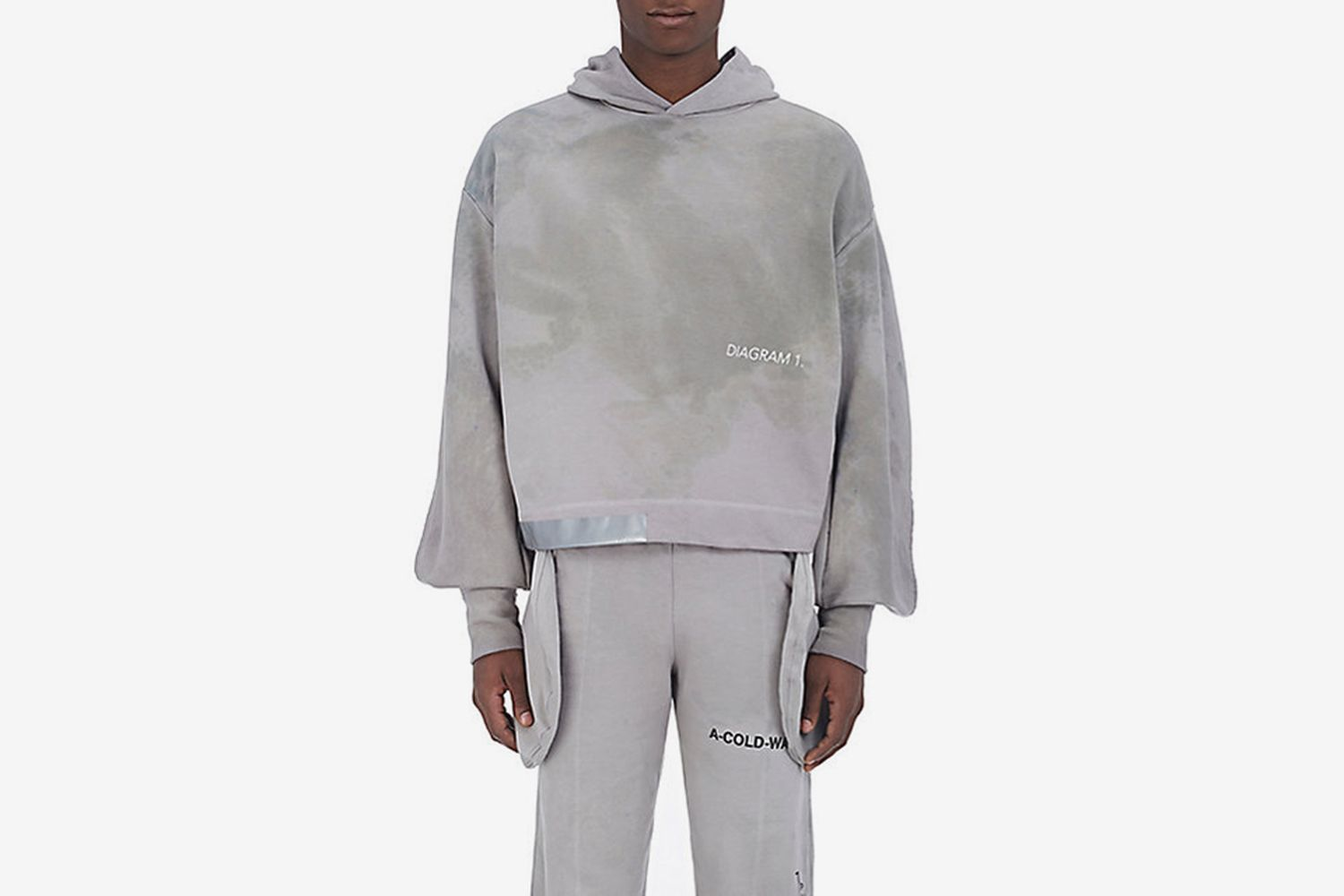 """Polythene*"" Split-Sleeve Cotton Hoodie"
