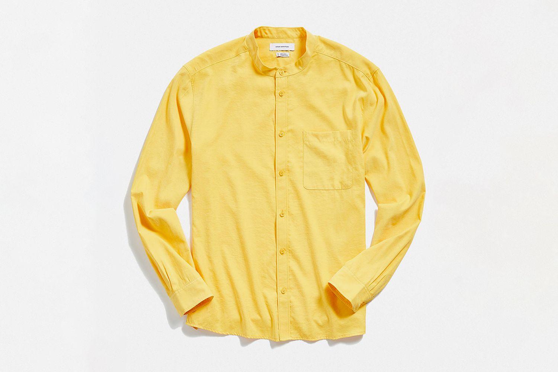Faux Silk Band Collar Button-Down Shirt