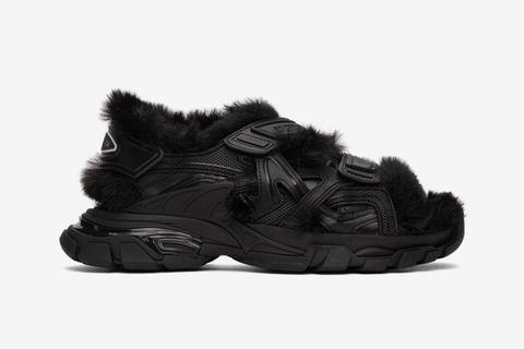 Faux-Fur Track Sandals