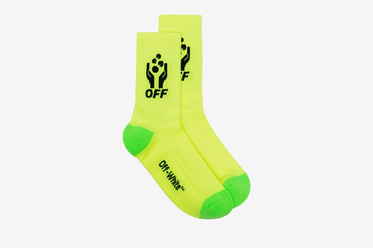Fluorescent Yellow Hands Image socks