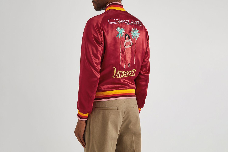 Embroidered Satin Bomber Jacket
