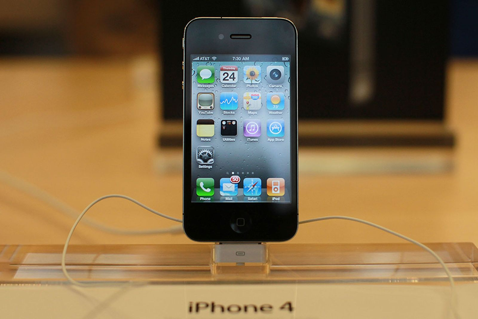 iPhone 4 is displayed at the flagship Apple Store
