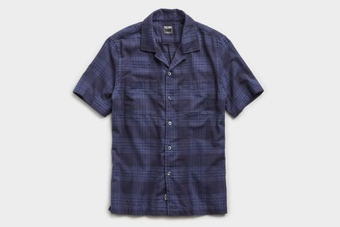 Two Pocket Boucle Plaid Short Sleeve Shirt