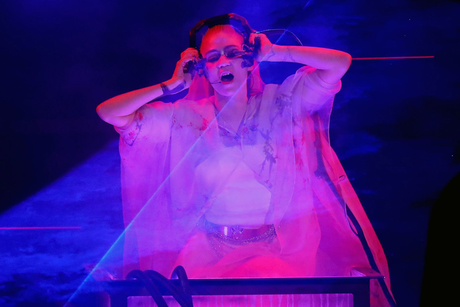Grimes performing