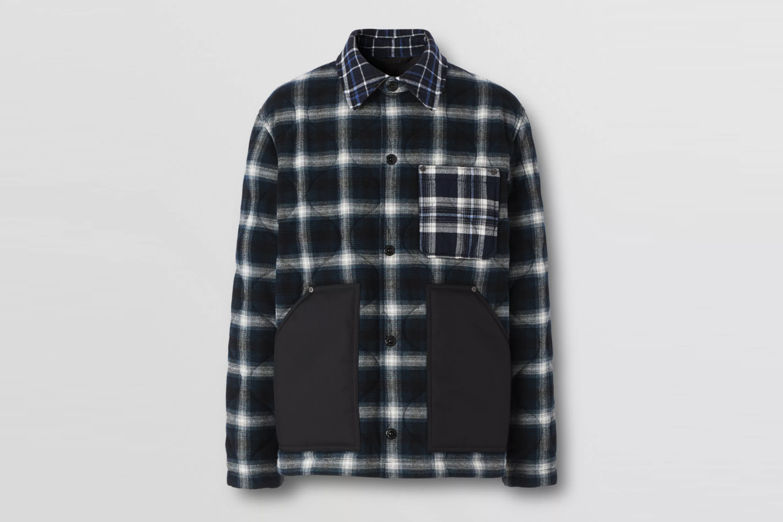 Contrast Pocket Check Wool Cotton Overshirt