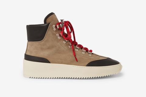 Nubuck and Leather High-Top Sneakers