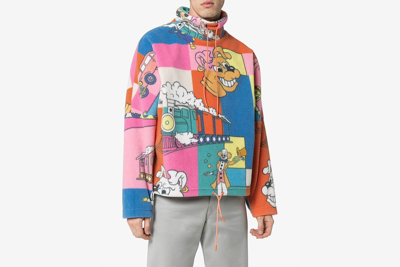 Cartoon Print Fleece Sweater