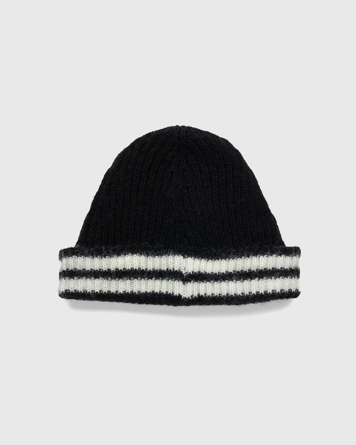 Our Legacy – Knitted Stripe Hat Black Ivory Wool - Image 2