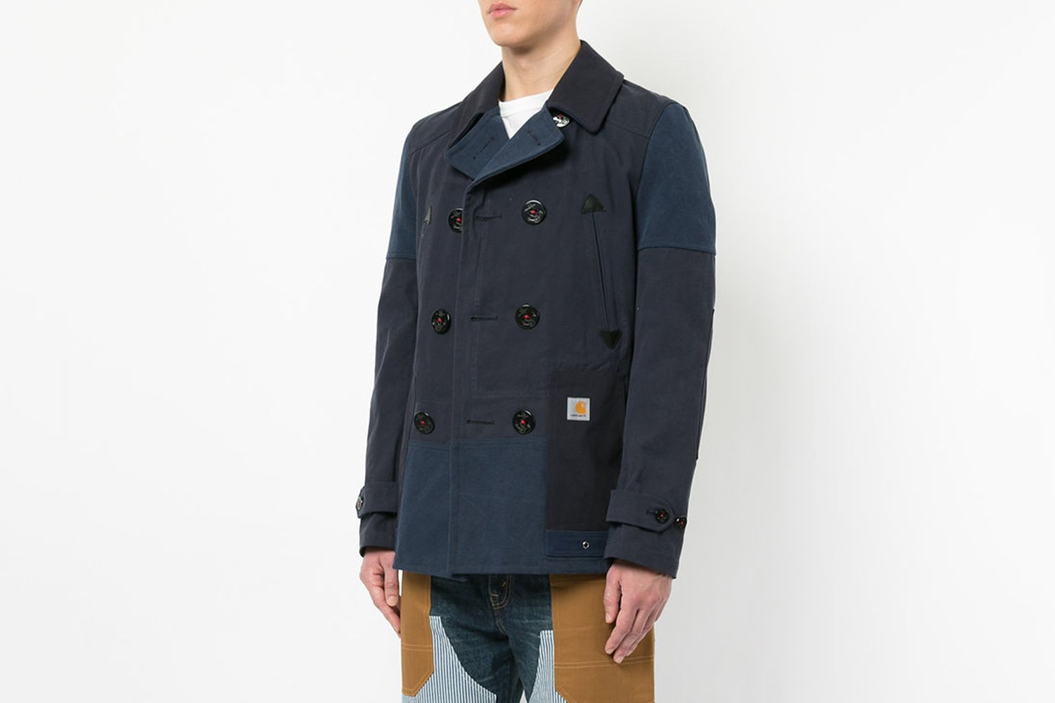 Patchwork Double-Breasted Coat