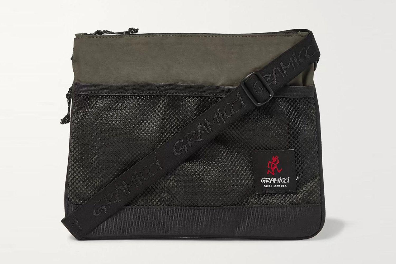 Mesh-Trimmed Shell Messenger Bag