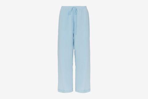 Wide Leg Silk Trousers