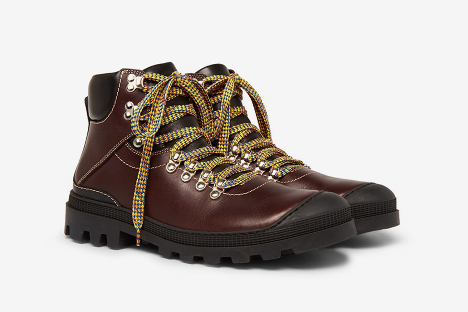 Rubber Trimmed Leather Boots
