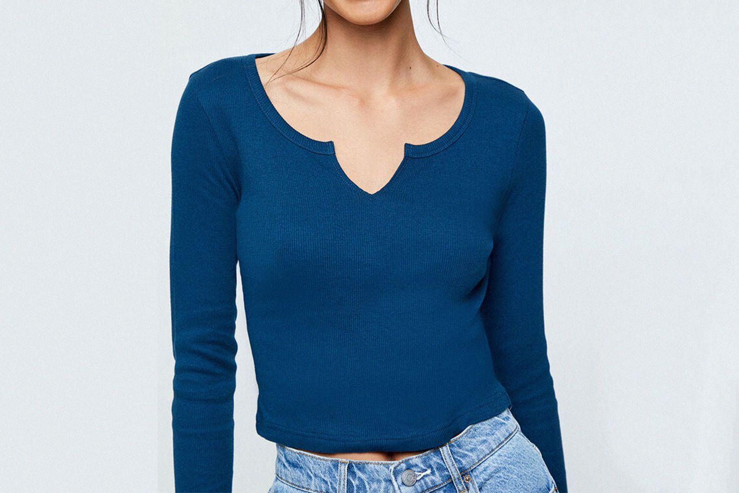 Long Sleeve Notched Neck Top