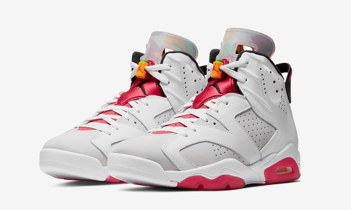 grey red and white Nike Air Jordan 6 hare product shot