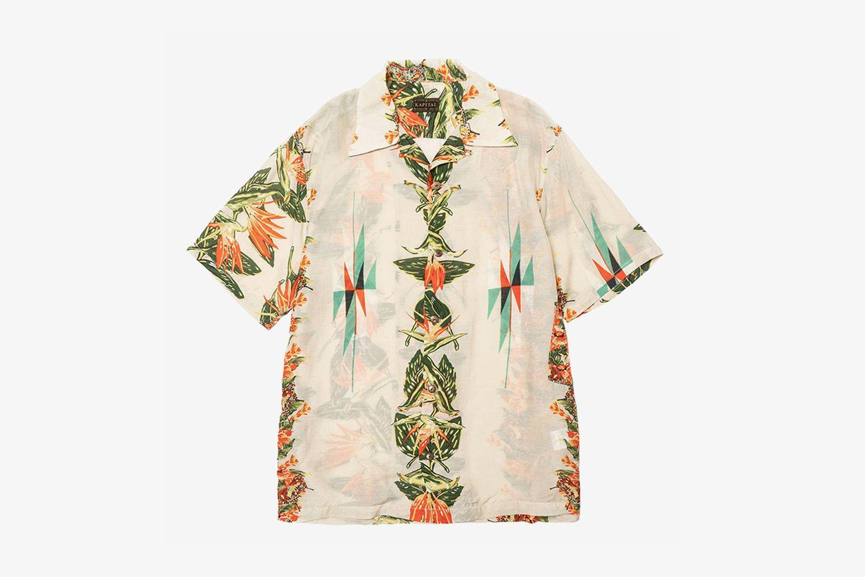 Hibiscus-Ortega Print Aloha Shirt
