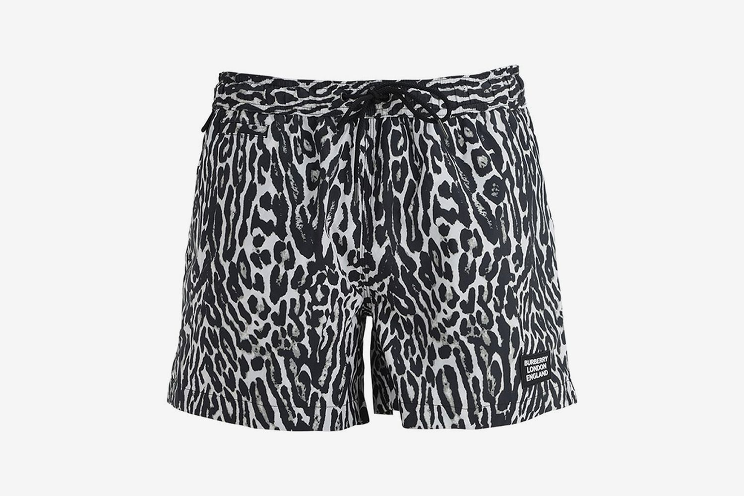 Leopard Print Nylon Swim Shorts