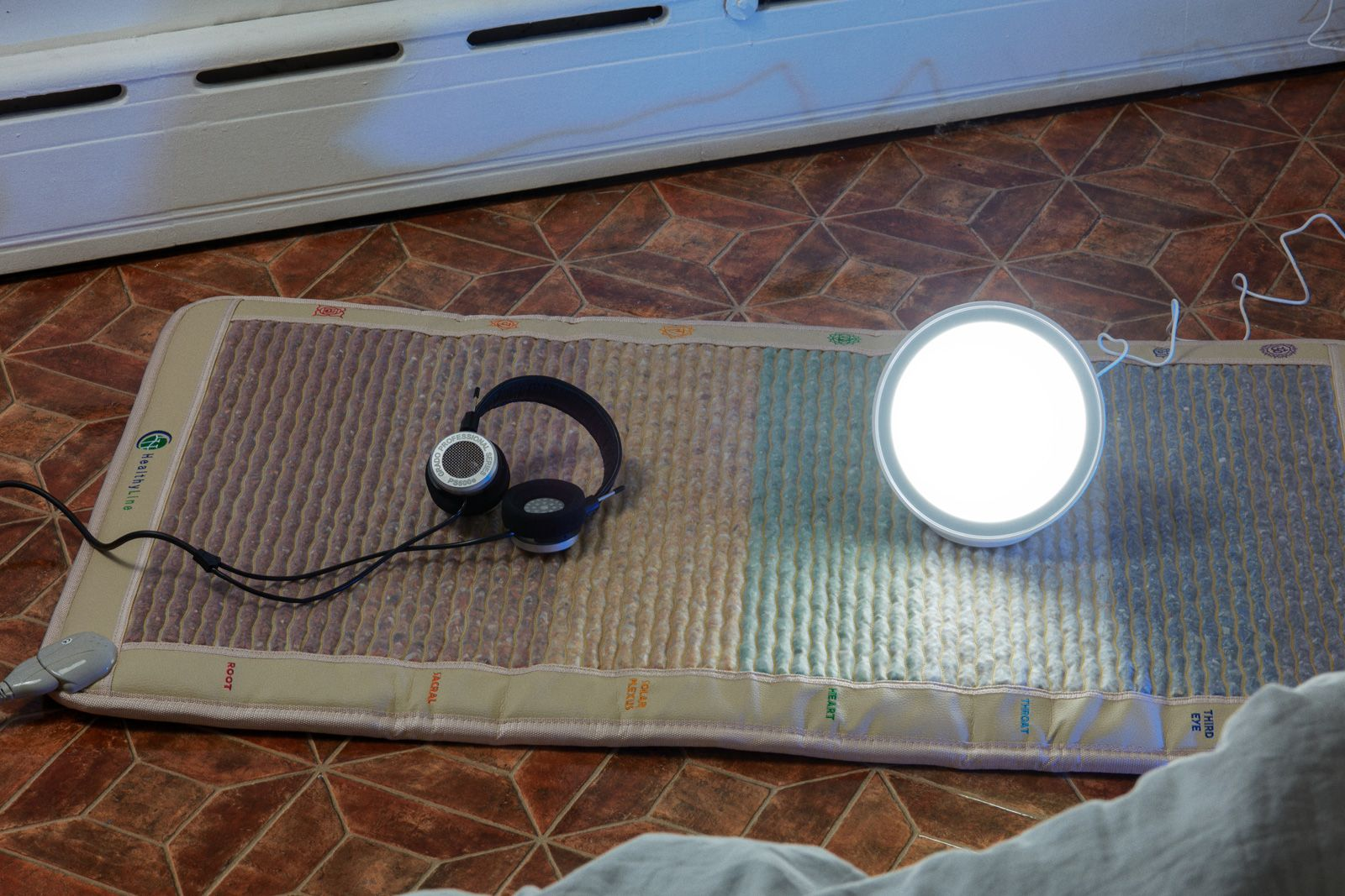 Mat: PEMF, Headphones: GRADO, Light: CIRCADIAN OPTICS