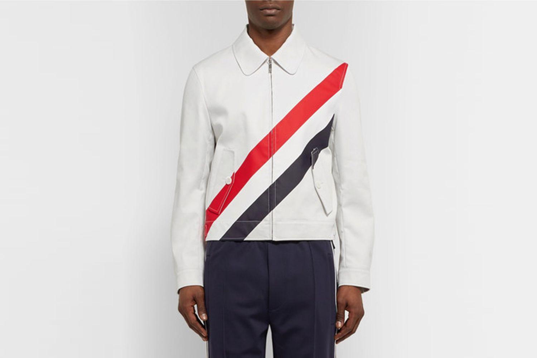 Slim-Fit Striped Cotton-Twill Jacket