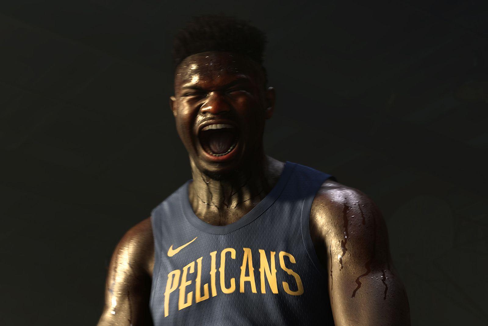Zion Williamson celebrating in NBA 2k21