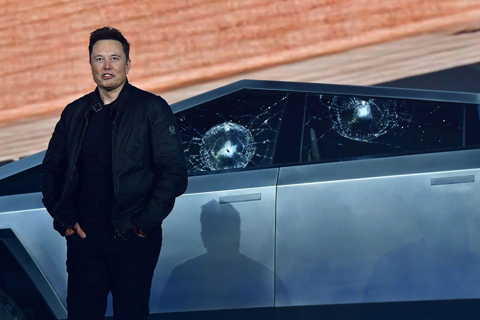 Elon Musk after the Tesla Cybertruck's windows smashed