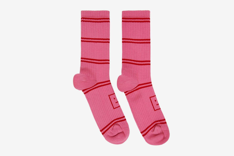 Motif Jacquard Striped Socks