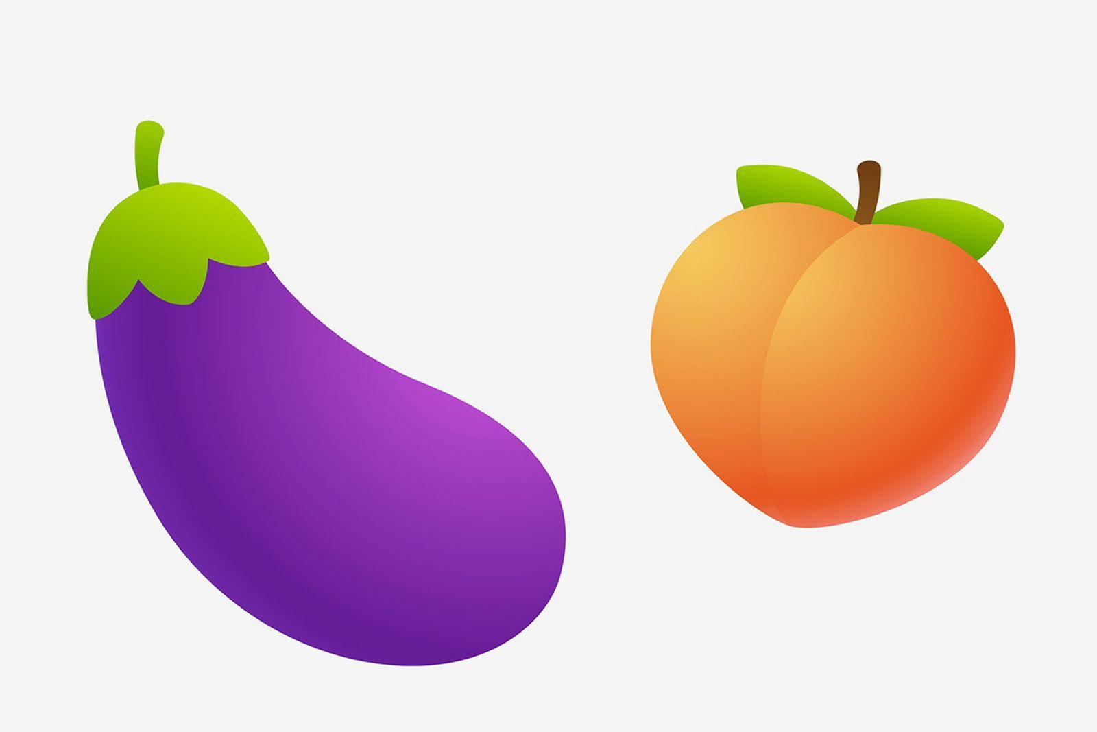eggplant emoji peach emoji