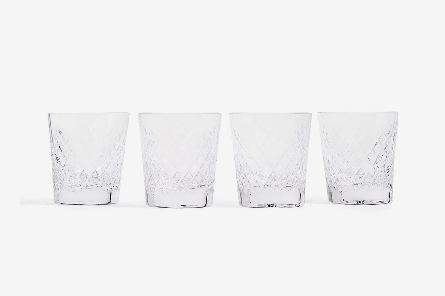 Barwell Cut Crystal Rocks Glass, Set of Four