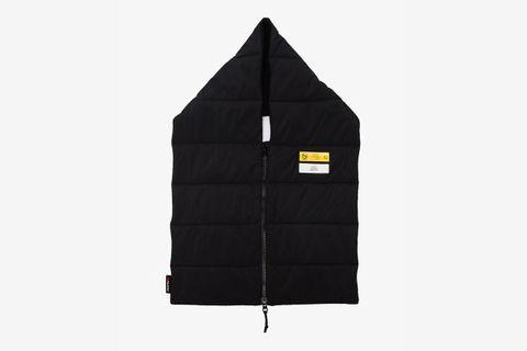 Black Zipped Padded Logo Scarf