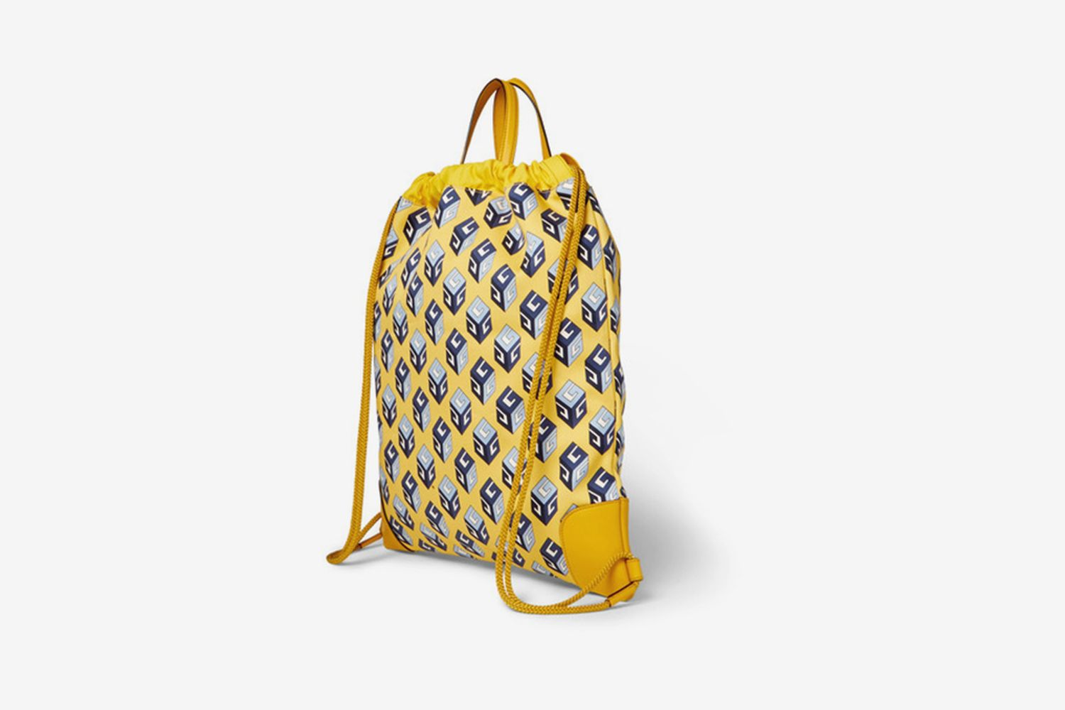 Leather-Trimmed Printed Canvas Drawstring Backpack