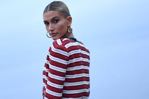 Hailey Bieber red white top