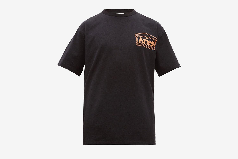 Temple Logo Print Cotton T-Shirt
