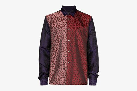Panelled Leopard Print Satin Shirt