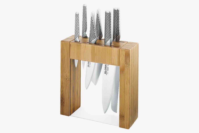 Ikasu 7-Piece Stainless Steel Knife & Bamboo Block Set