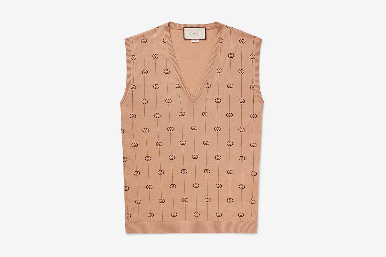 Logo-Jacquard Wool-Blend Sweater Vest