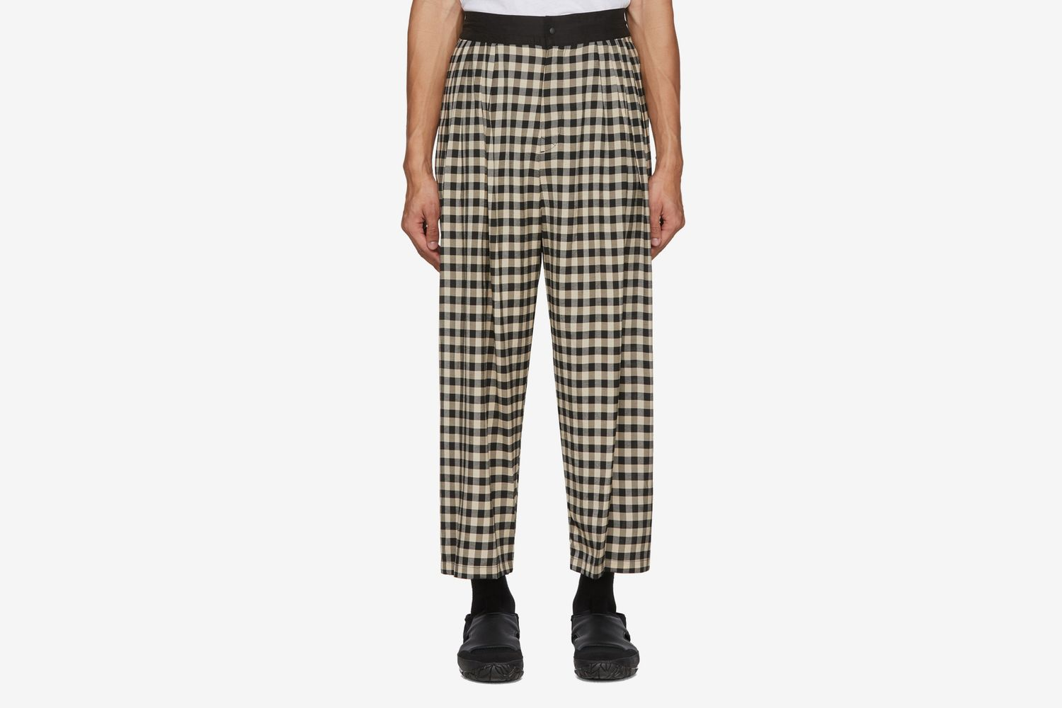 Block Check Wide Trousers