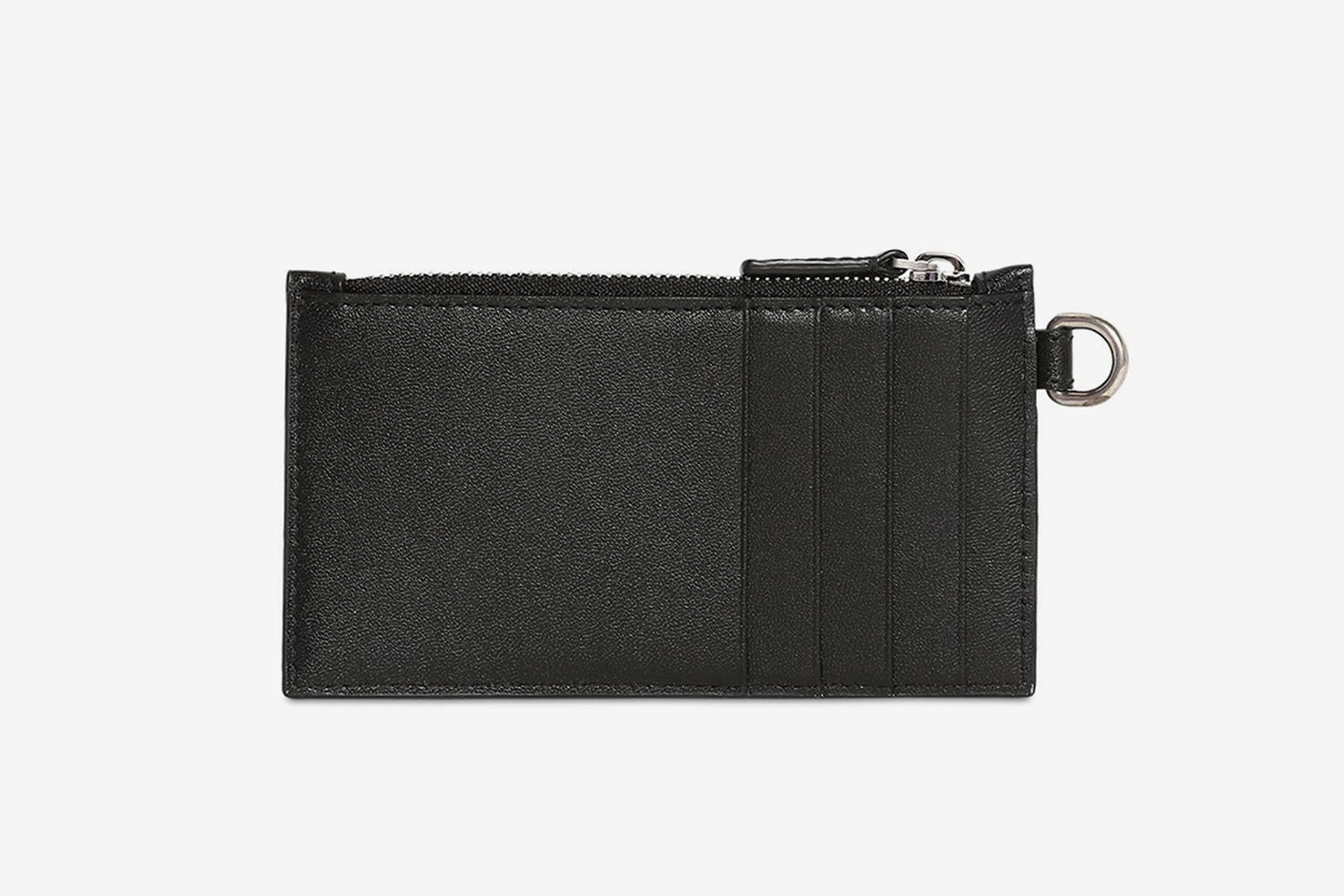 Logo Print Leather Zip Card Holder
