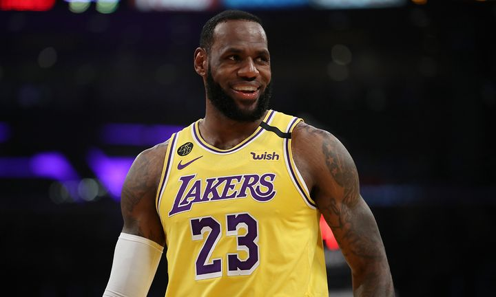 LeBron James #23 of the Los Angeles Lakers stands on the court