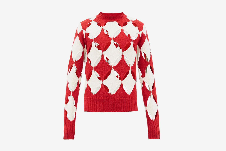 Slashed Cutout Wool Sweater