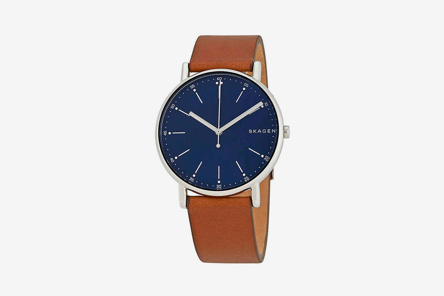 Signature Blue Dial Brown Leather Watch