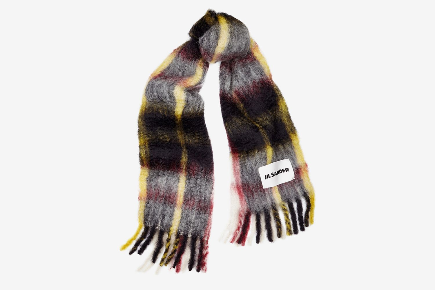 Checked Mohair-Blend Scarf