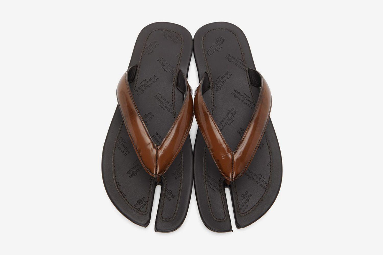 Patent Tabi Flip Flops