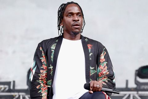 pusha t black jacket white tee