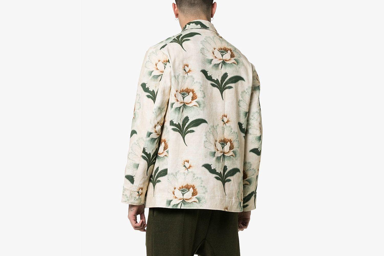 Lotus Flower Print Shirt Jacket